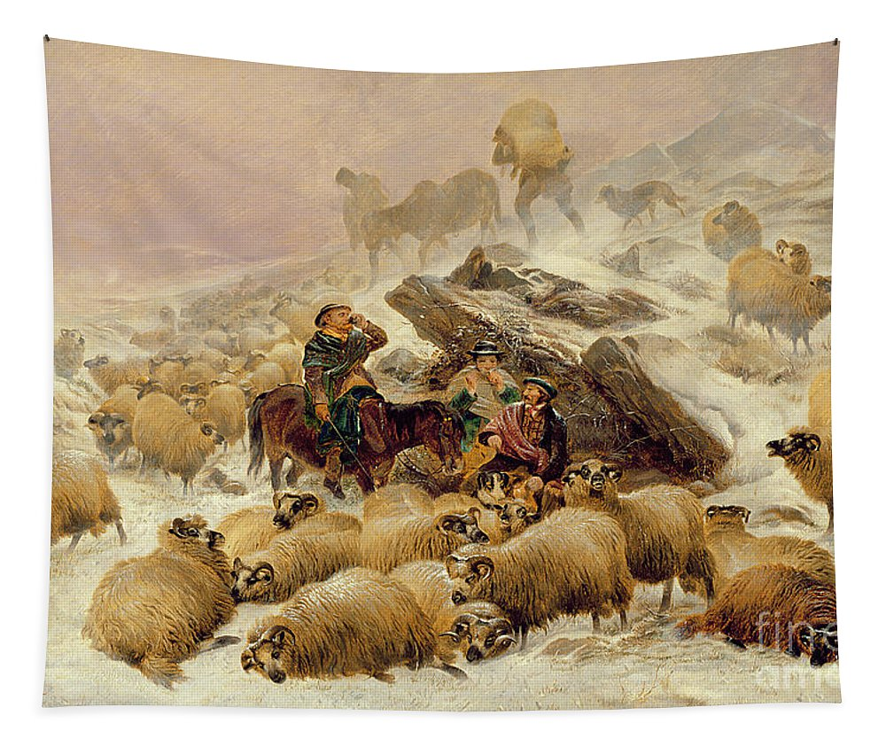Sheep Tapestry featuring the painting The Warmth Of A Wee Dram by TS Cooper