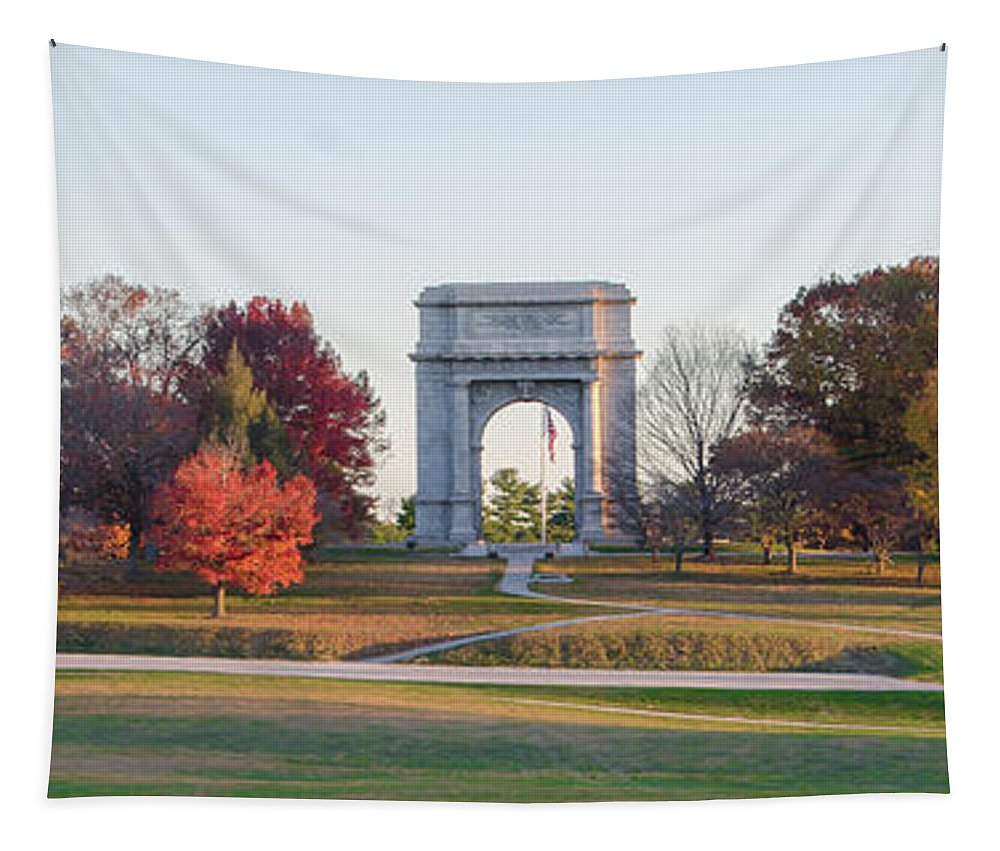 The Tapestry featuring the photograph The Washington Memorial At Valley Forge Panorama by Bill Cannon