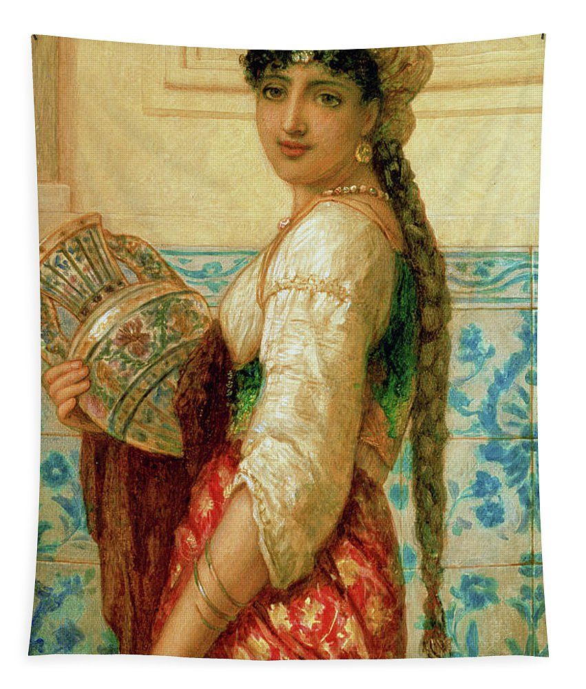 Gypsy Tapestry featuring the painting The Water Carrier by Augustus Jules Bouvier