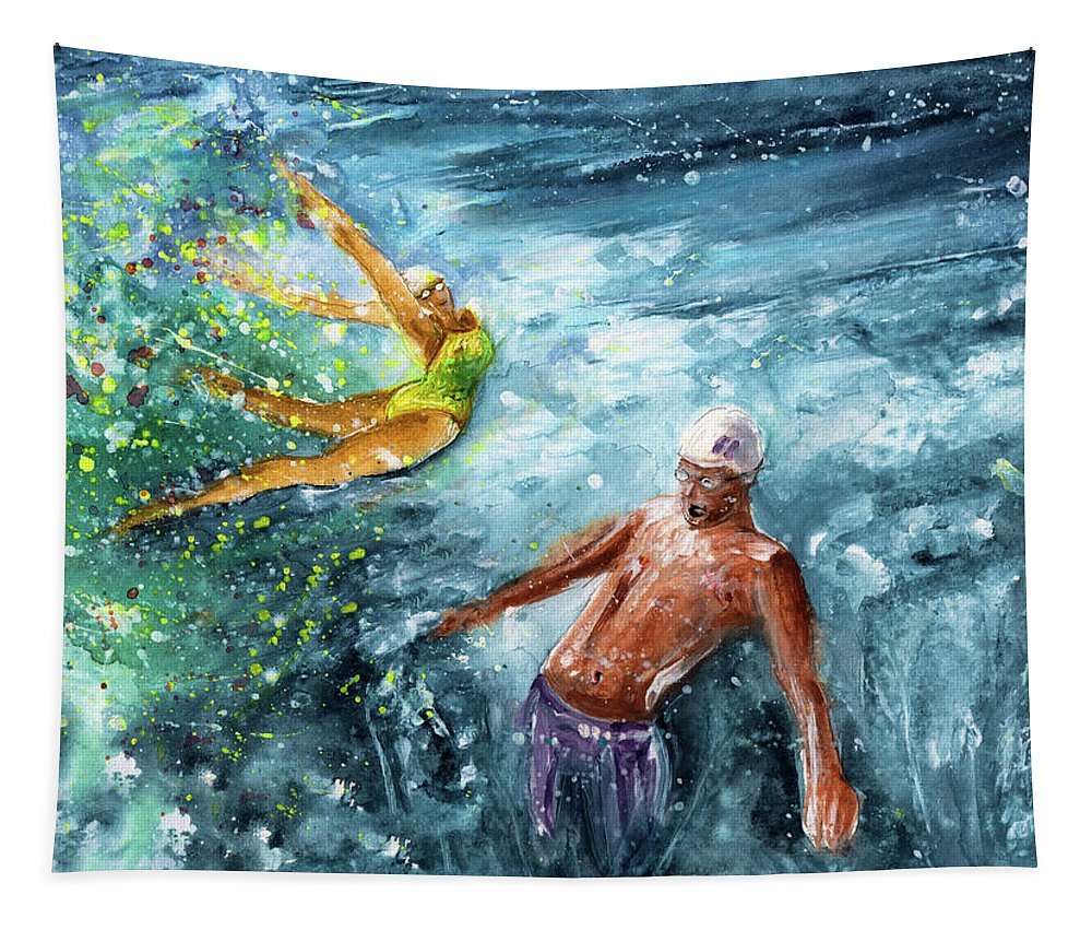 Sports Tapestry featuring the painting The Water Wall by Miki De Goodaboom