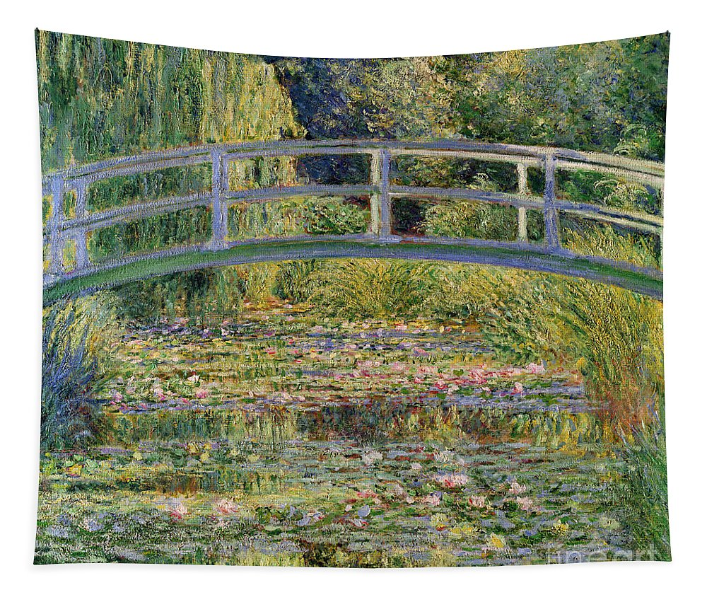 The Tapestry featuring the painting The Waterlily Pond with the Japanese Bridge by Claude Monet