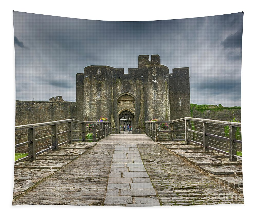 Caerphilly Castle Tapestry featuring the photograph The West Gatehouse 2 by Steve Purnell