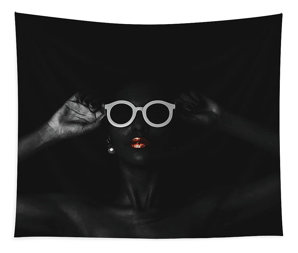 Black Tapestry featuring the photograph The White Glasses by Pixabay