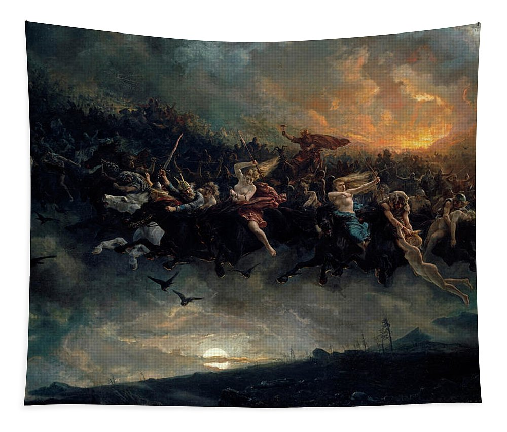 Norse Gods Tapestry featuring the painting The wild Hunt of Odin by Peter Nicolai Arbo