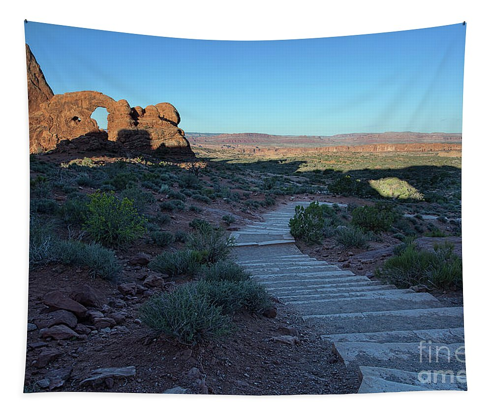 Utah Landscape Tapestry featuring the photograph The Windows Pathway by Jim Garrison