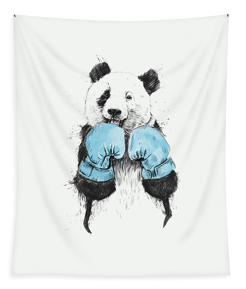 Panda Tapestry featuring the drawing The Winner by Balazs Solti