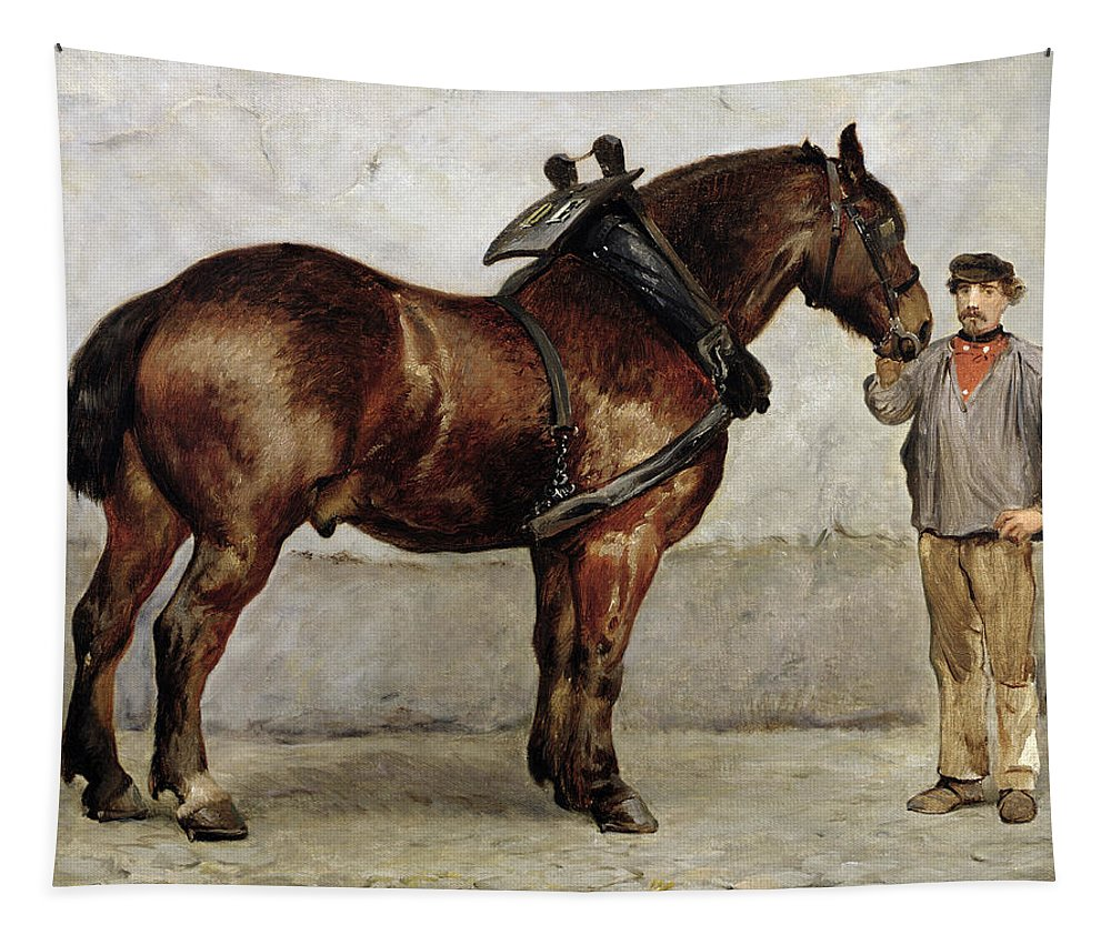 Horse Tapestry featuring the painting The Work Horse by Otto Bache