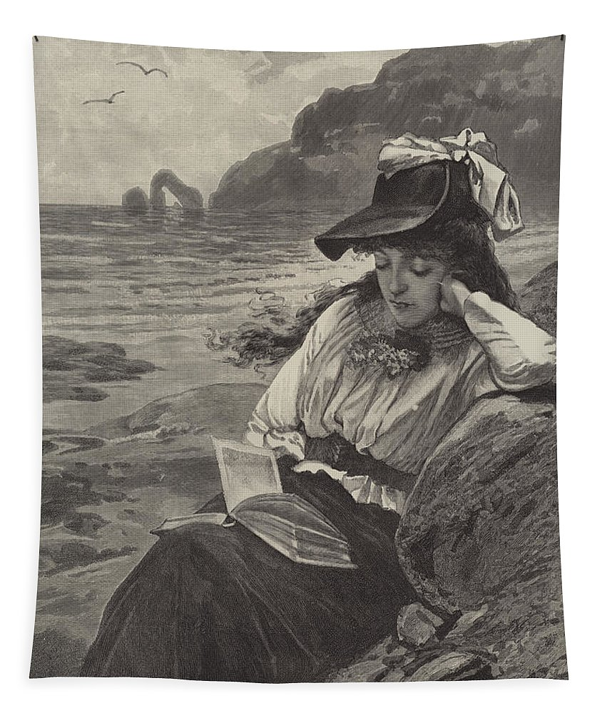 World; Forgetting; Coastal; Books; Reading; Women Tapestry featuring the drawing The World Forgetting by English School
