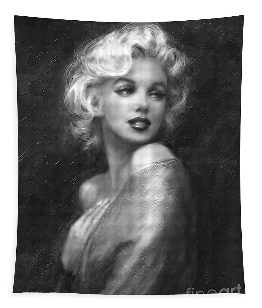 Marilyn Tapestry featuring the painting Theo's Marilyn Ww Bw by Theo Danella