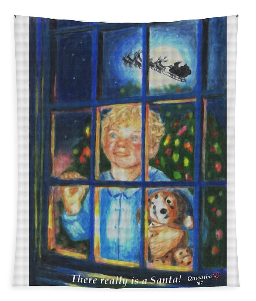 Santa Tapestry featuring the drawing There Really is a Santa by Quwatha Valentine