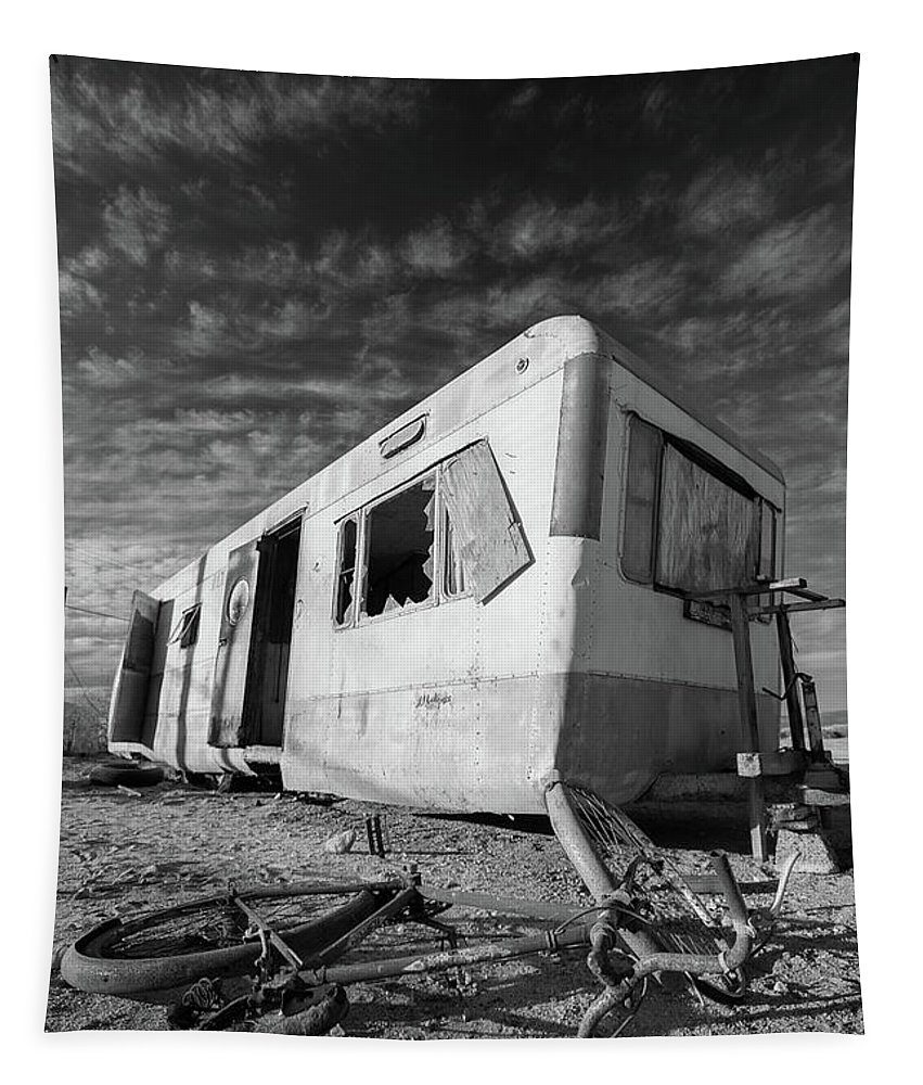 Abandoned Tapestry featuring the photograph Theres My Bike Black And White by Scott Campbell