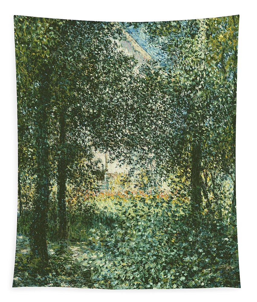 Monet Tapestry featuring the painting Thicket The House Of Argenteuil by Claude Monet
