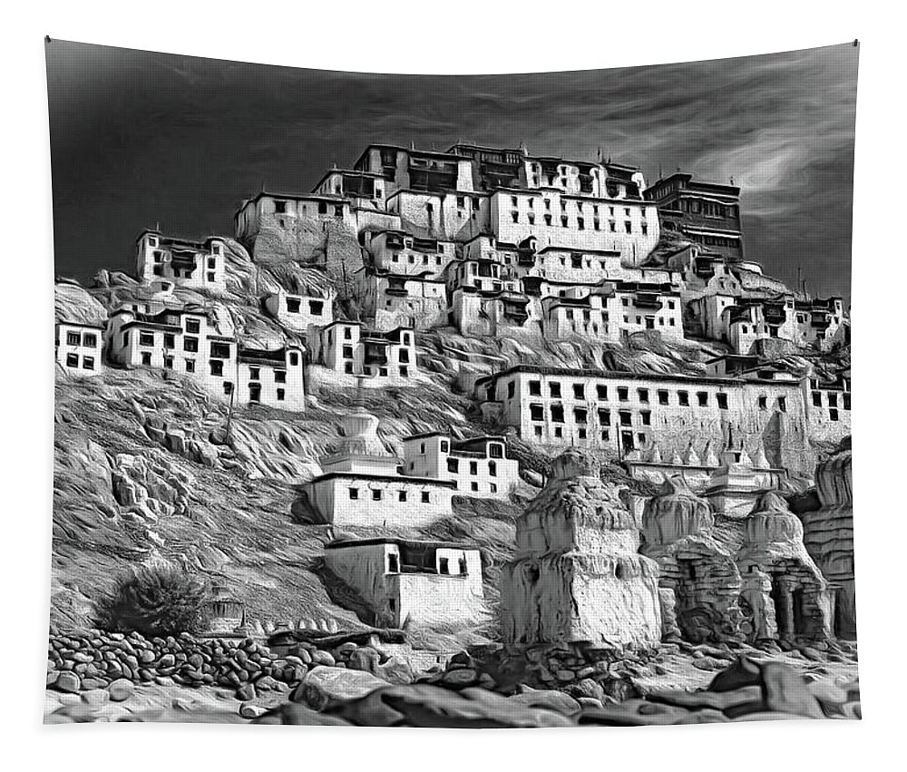 Iladakh Tapestry featuring the photograph Thiksey Monastery - Paint Bw by Steve Harrington