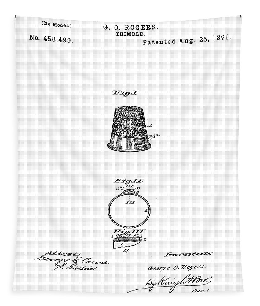 Thimble Tapestry featuring the digital art Thimble Patent 1891 by Bill Cannon