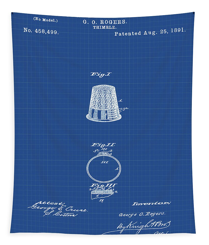 Thimble Tapestry featuring the digital art Thimble Patent 1891 In Blue Print by Bill Cannon