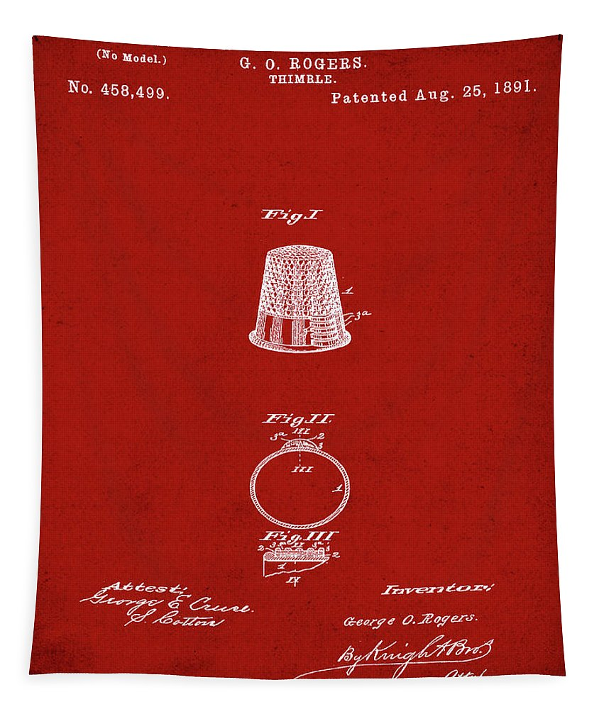 Thimble Tapestry featuring the digital art Thimble Patent 1891 In Red by Bill Cannon