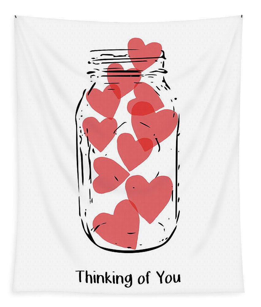 Hearts Tapestry featuring the mixed media Thinking Of You Jar of Hearts- Art by Linda Woods by Linda Woods