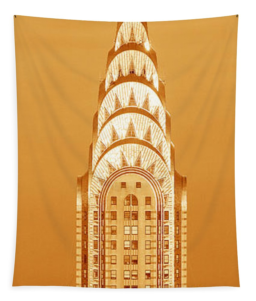 Photography Tapestry featuring the photograph Chrysler Building At Sunset by Panoramic Images