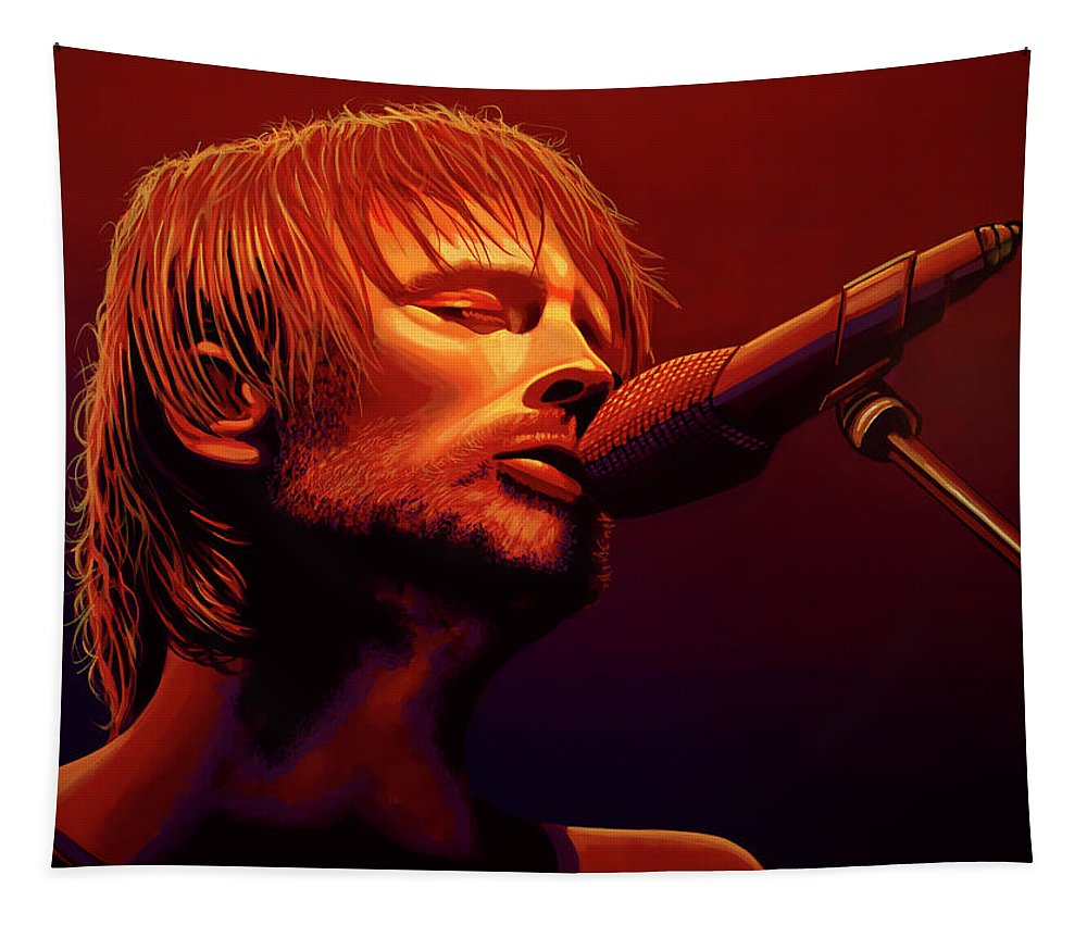 Thom Yorke Tapestry featuring the painting Thom Yorke Of Radiohead by Paul Meijering