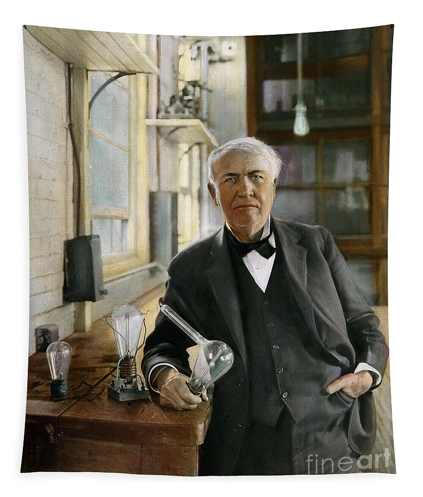 1915 Tapestry featuring the photograph Thomas Edison by Granger