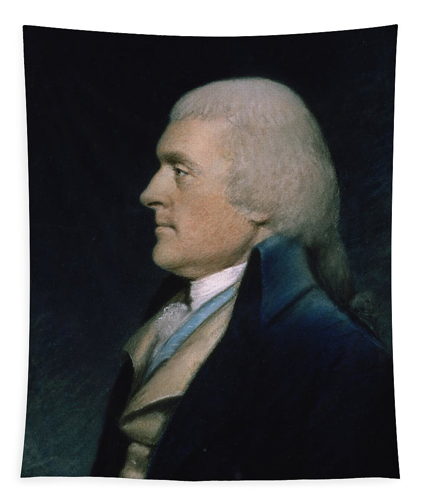 Thomas Tapestry featuring the pastel Thomas Jefferson by James Sharples