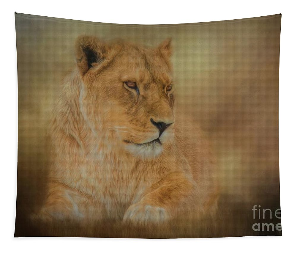 African Tapestry featuring the mixed media Thoughtful Lioness - Horizontal by Teresa Wilson