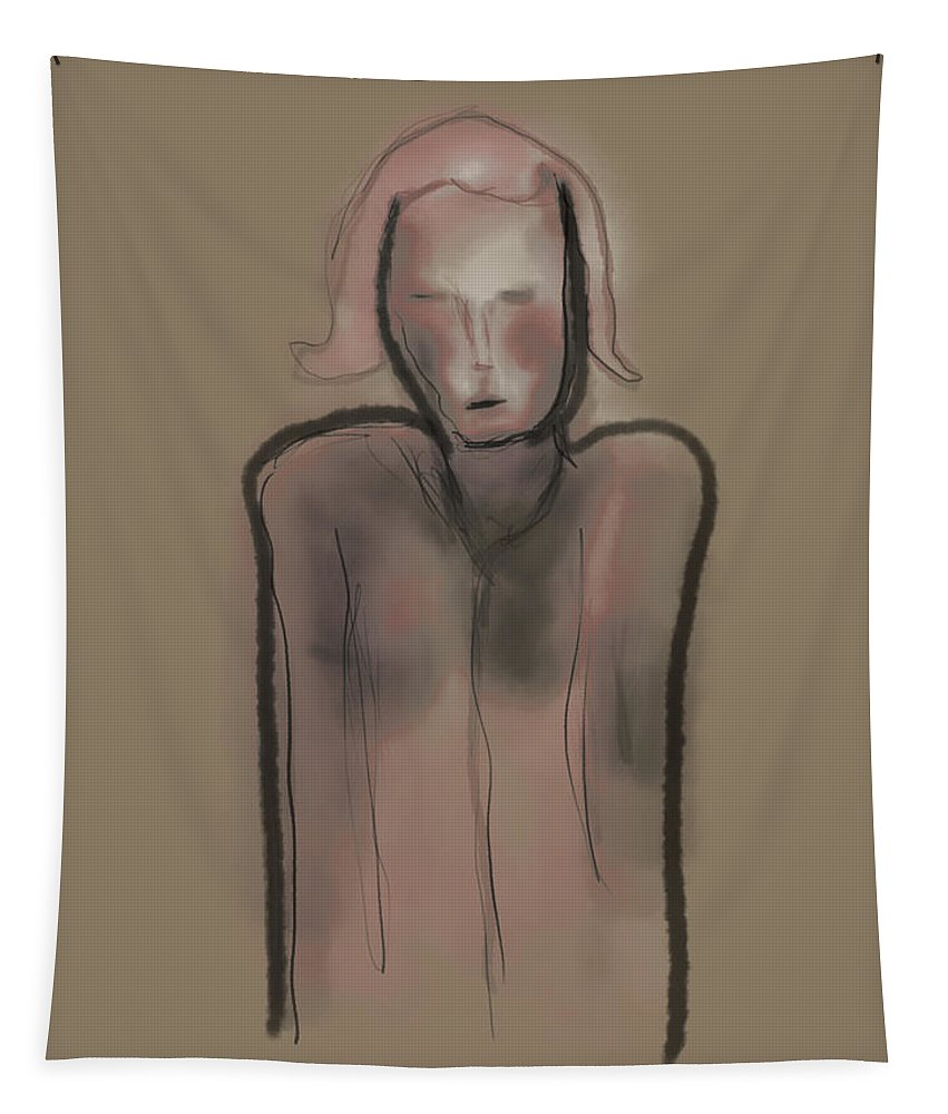 Apple Pencil Drawing Tapestry featuring the painting Thoughts by Bill Owen