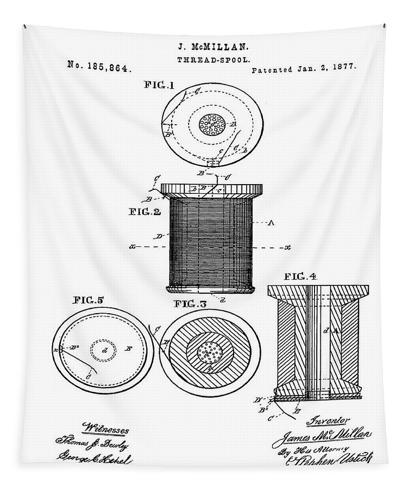 Thread Tapestry featuring the digital art Thread Spool Patent 1877 by Bill Cannon