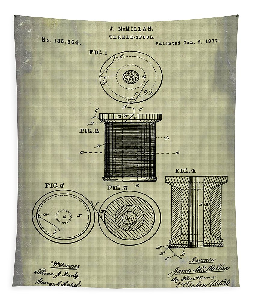 Thread Tapestry featuring the digital art Thread Spool Patent 1877 Weathered by Bill Cannon
