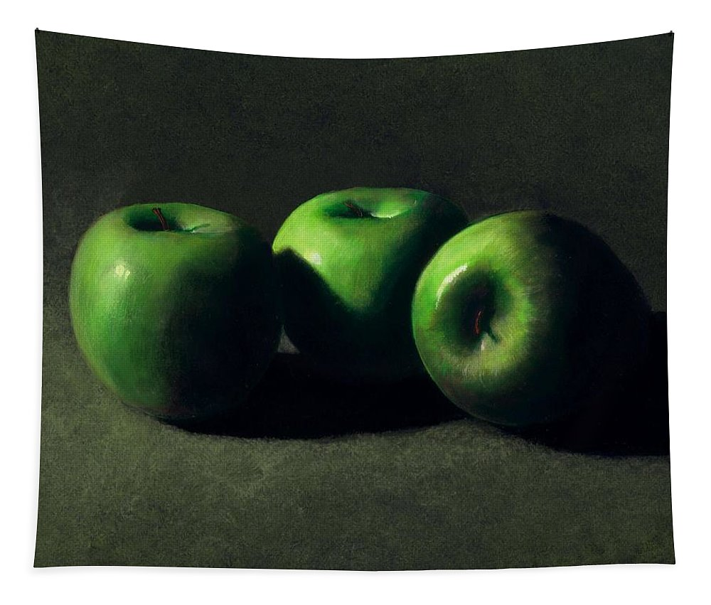 Still Life Tapestry featuring the painting Three Green Apples by Frank Wilson