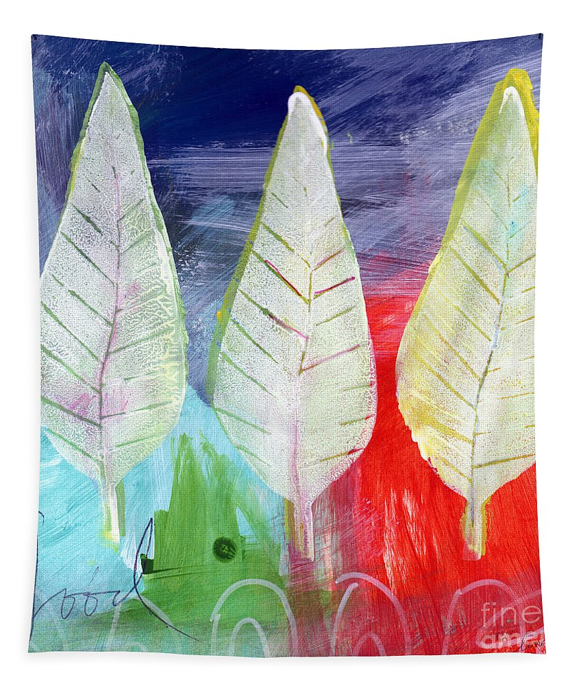 Abstract Tapestry featuring the painting Three Leaves Of Good by Linda Woods