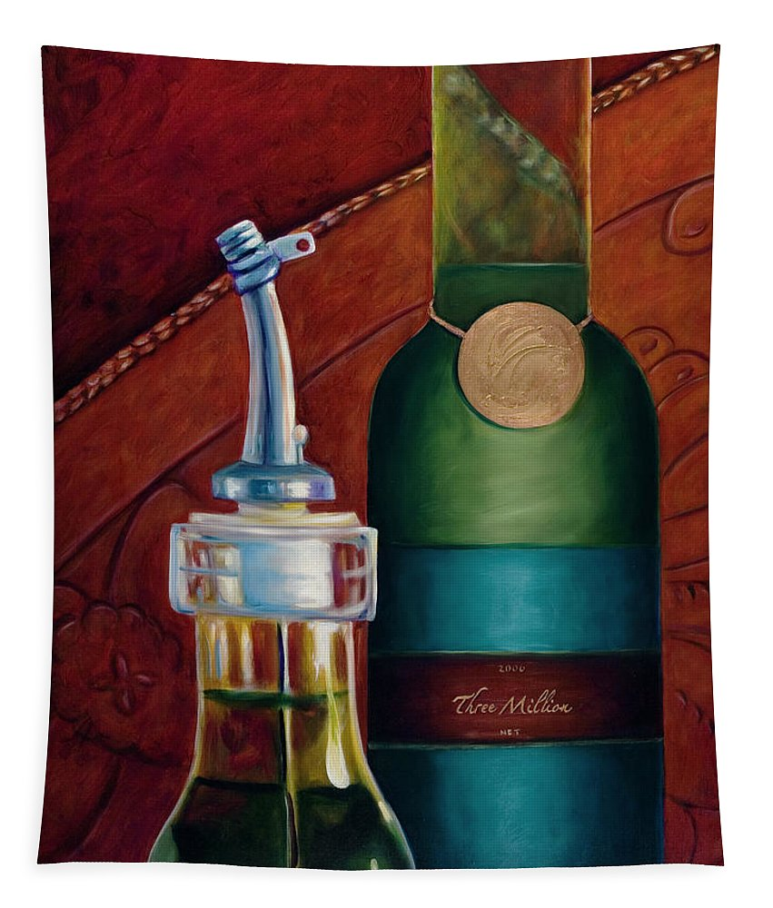 Olive Oil Tapestry featuring the painting Three Million Net by Shannon Grissom