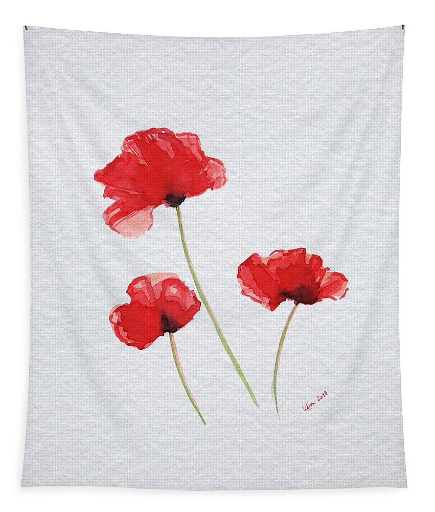Poppy Tapestry featuring the painting Three Red Poppies by Karen Kaspar
