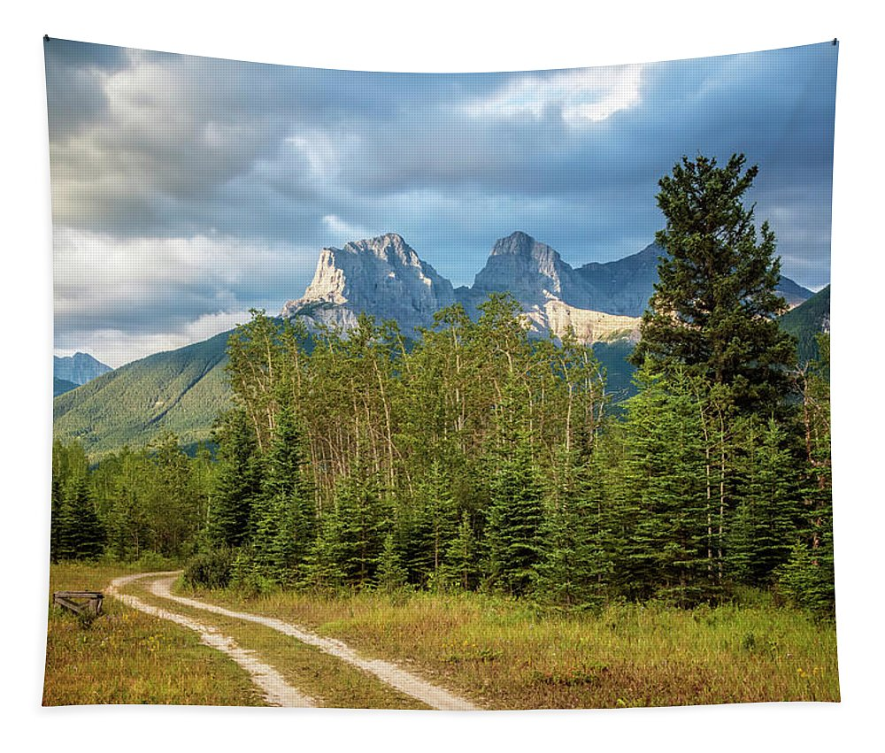 Joan Carroll Tapestry featuring the photograph Three Sisters And A Dirt Road by Joan Carroll