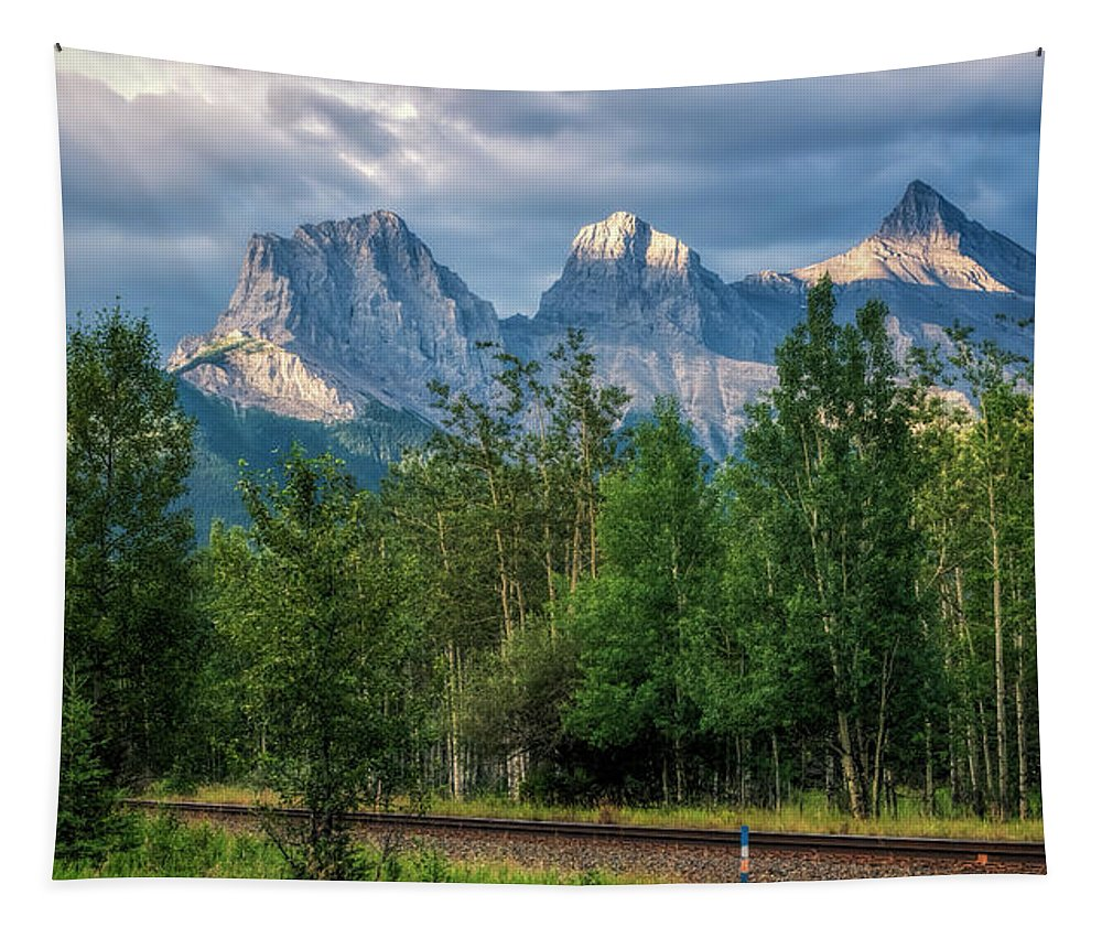 Joan Carroll Tapestry featuring the photograph Three Sisters And The Railroad by Joan Carroll