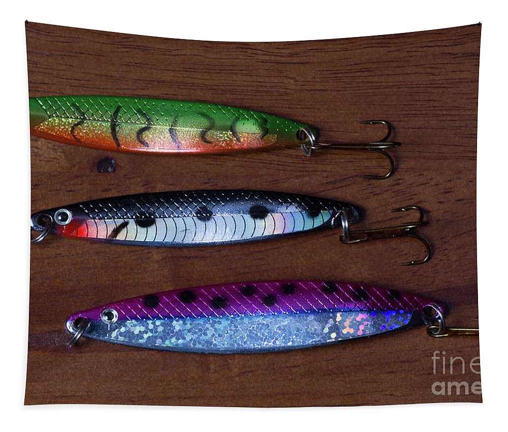 Sport Fishing Lure Tapestry featuring the digital art Three Spoons by John Edwards