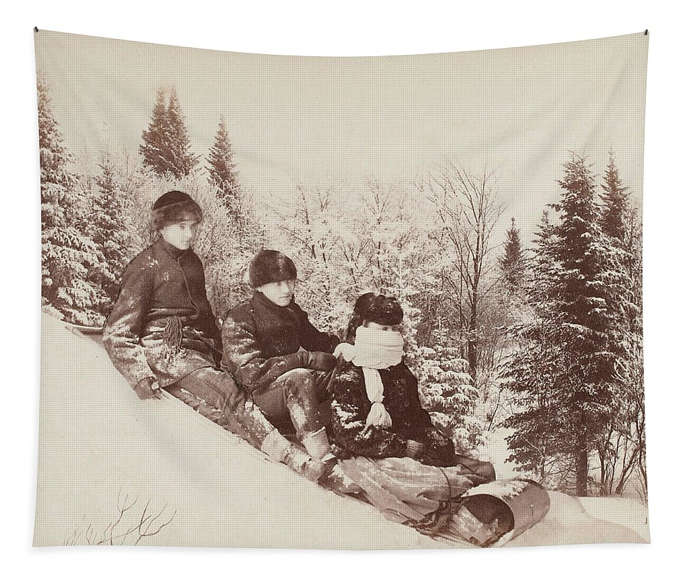Christmas Card Tapestry featuring the photograph Three Tobogganers On A Snowy Hill by Alexander Henderson