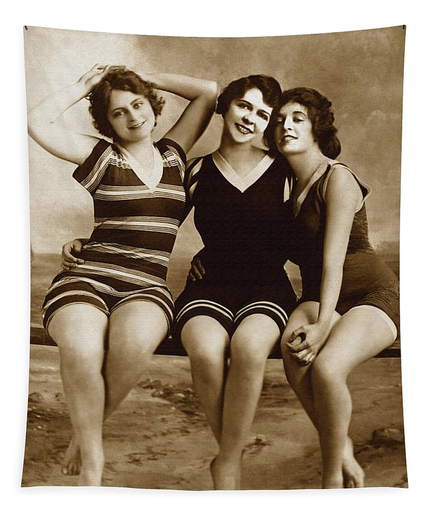 Antique Tapestry featuring the photograph Three Vintage Bathing Beauties by R Muirhead Art