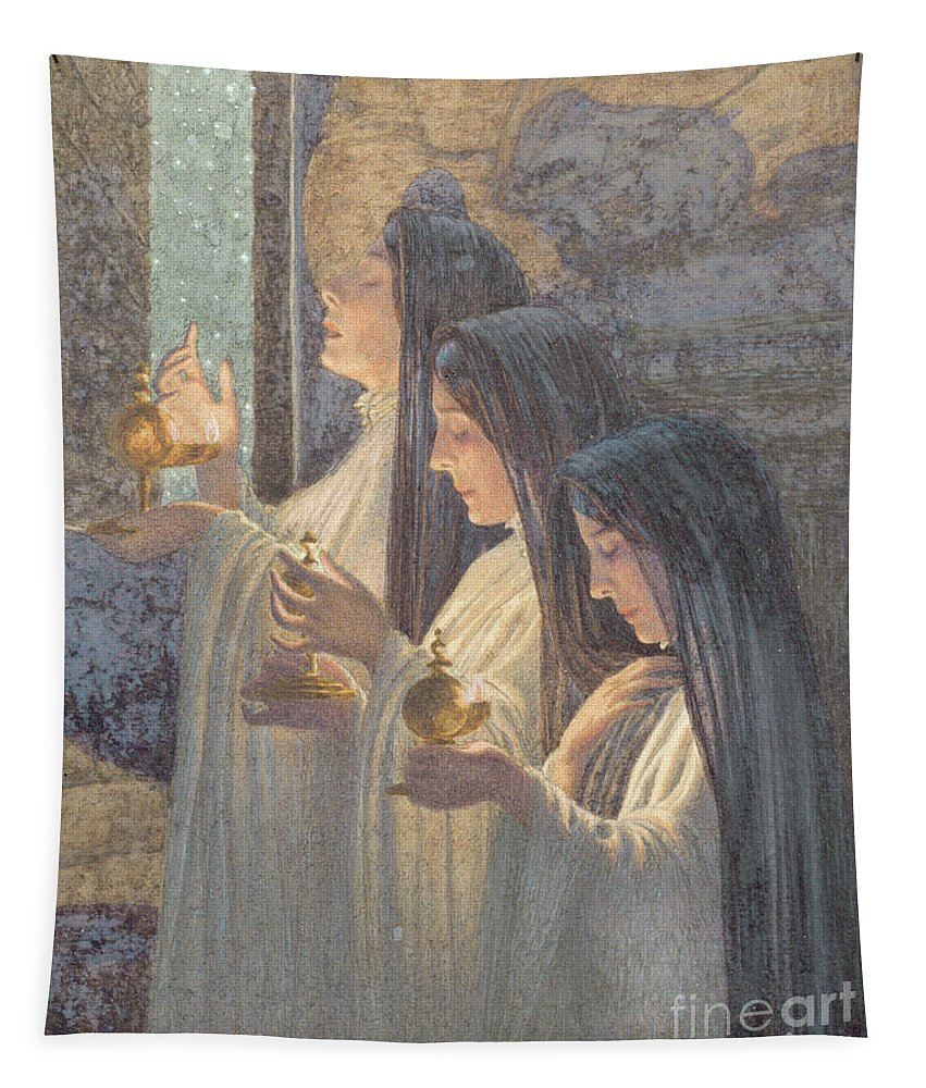 Christian Tapestry featuring the painting Three Wise Virgins by Carlos Schwabe