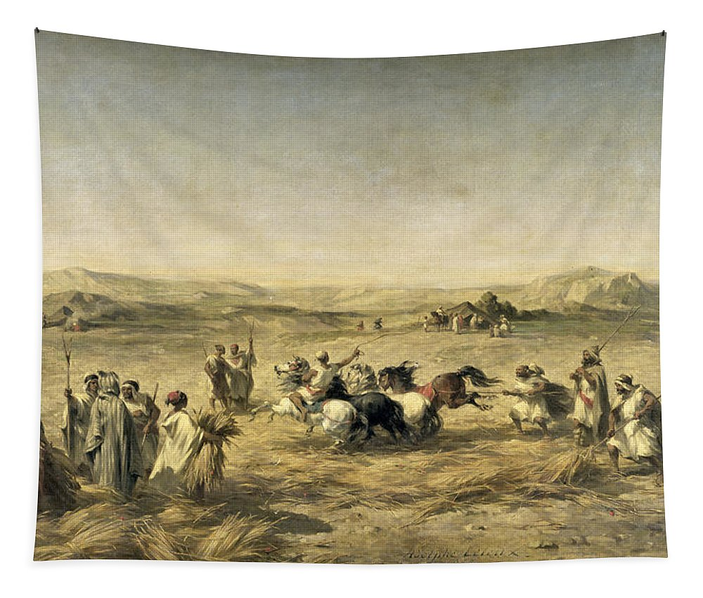 Threshing Tapestry featuring the painting Threshing Wheat In Algeria by Adolphe Pierre Leleux