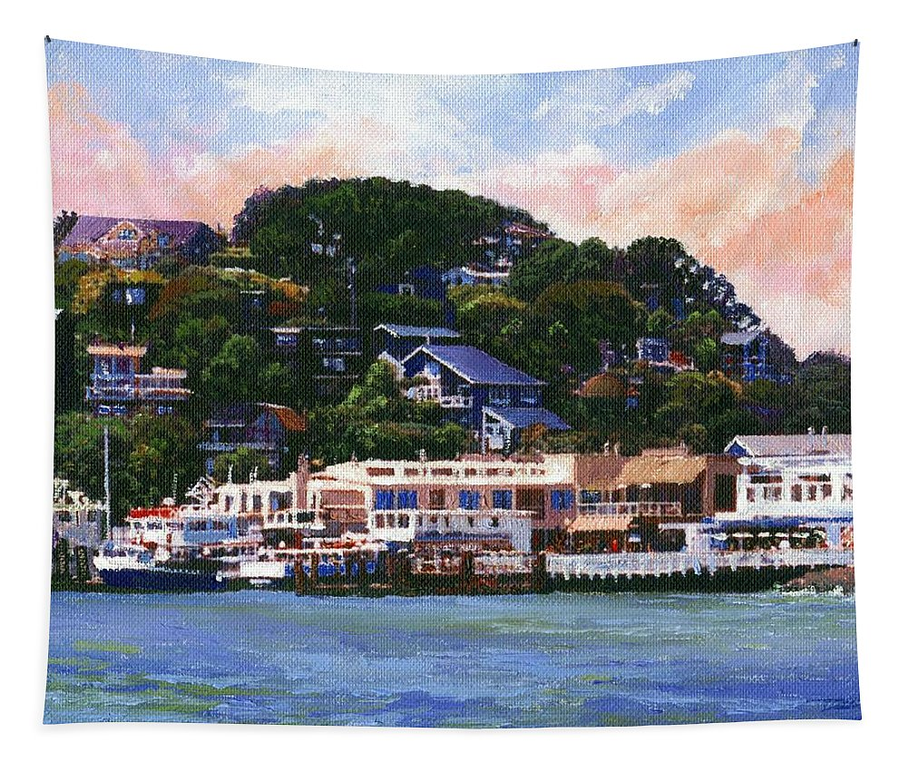 Landscape Tapestry featuring the painting Tiburon California Waterfront by Frank Wilson