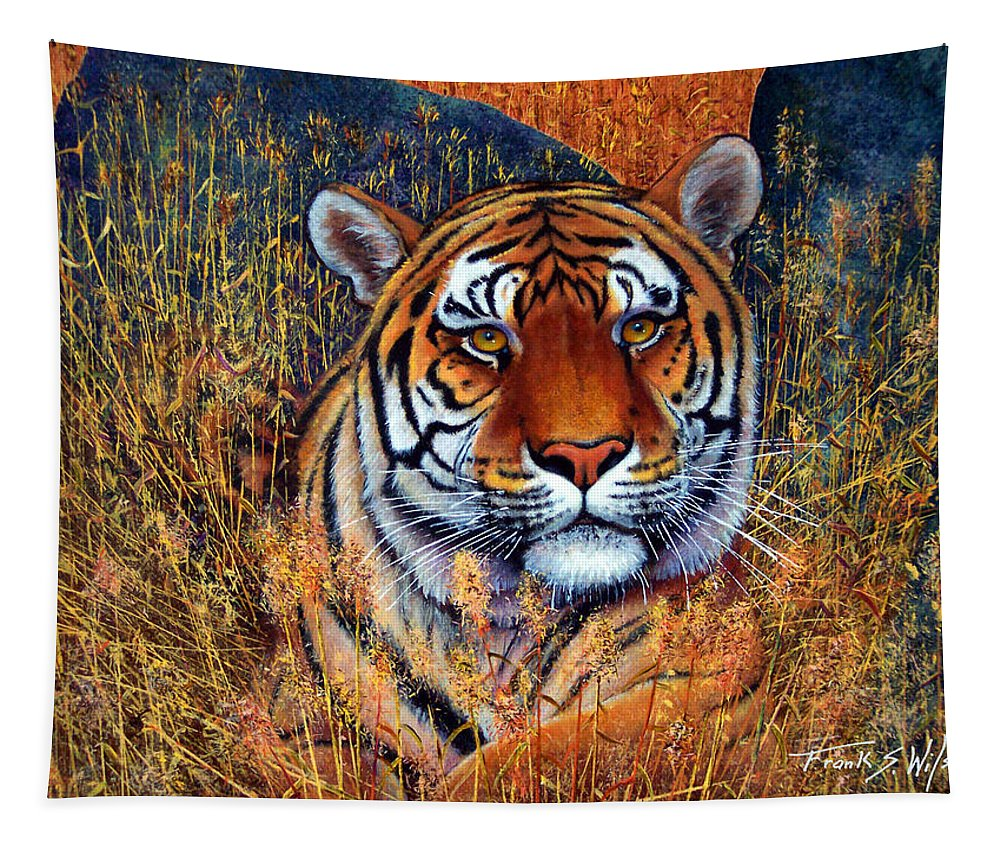 Tiger Tapestry featuring the painting Tiger by Frank Wilson