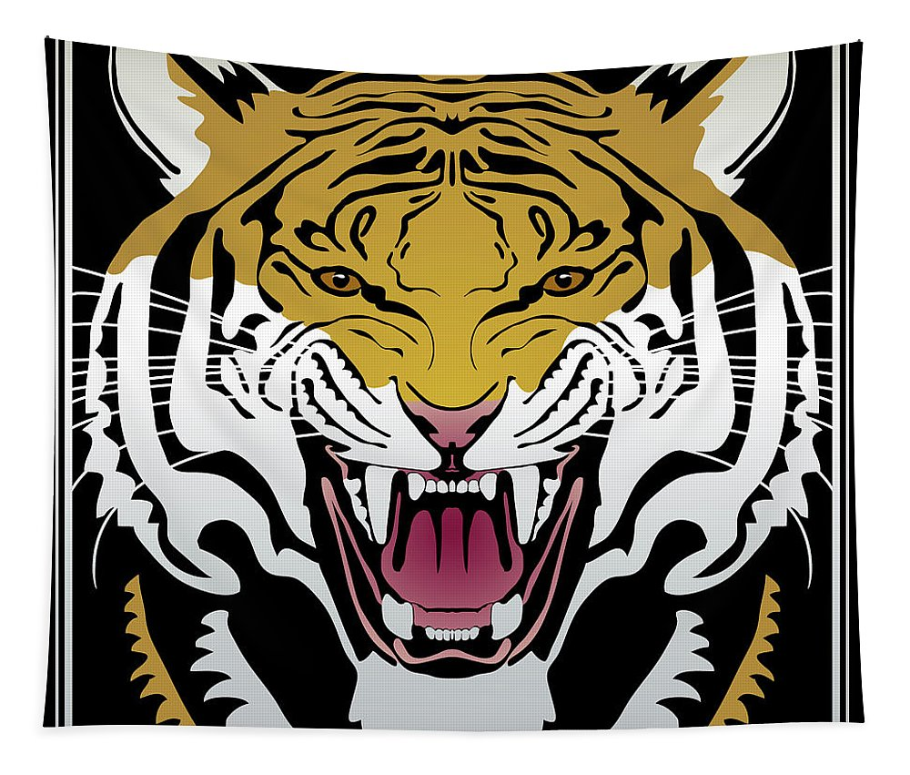 Tiger Tapestry featuring the digital art Tiger Head by Attila Meszlenyi