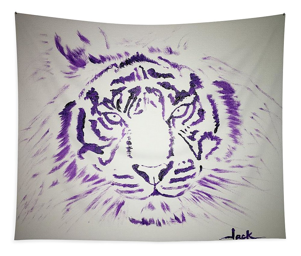 Tiger Tapestry featuring the painting Tiger by Jack Bunds