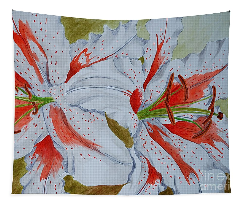 Lilly Red Lilly Tiger Lilly Tapestry featuring the painting Tiger Lilly by Herschel Fall
