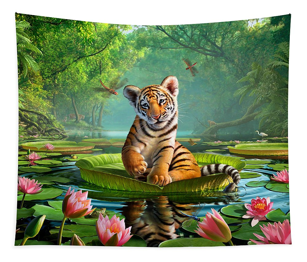 Tiger Tapestry featuring the digital art Tiger Lily by Jerry LoFaro