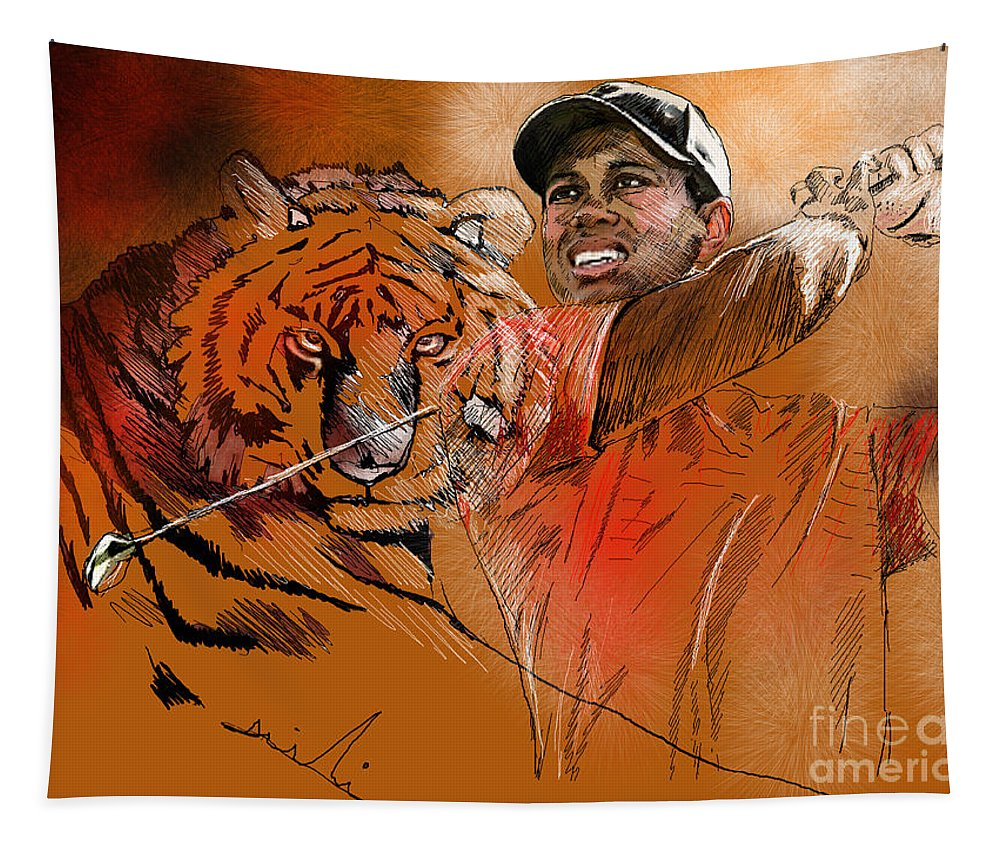 Golf Art Painting Portrait Tiger Woods Aninla Tiger Tapestry featuring the painting Tiger Woods Or Earn Your Stripes by Miki De Goodaboom