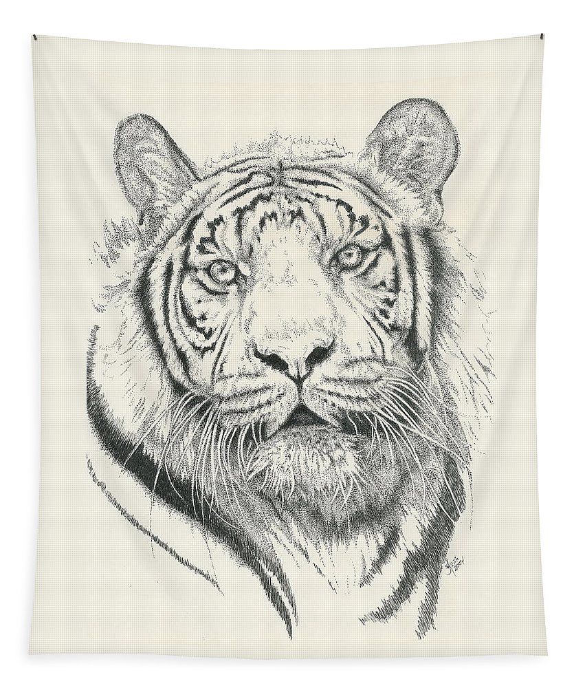 Tiger Tapestry featuring the drawing Tigerlily by Barbara Keith