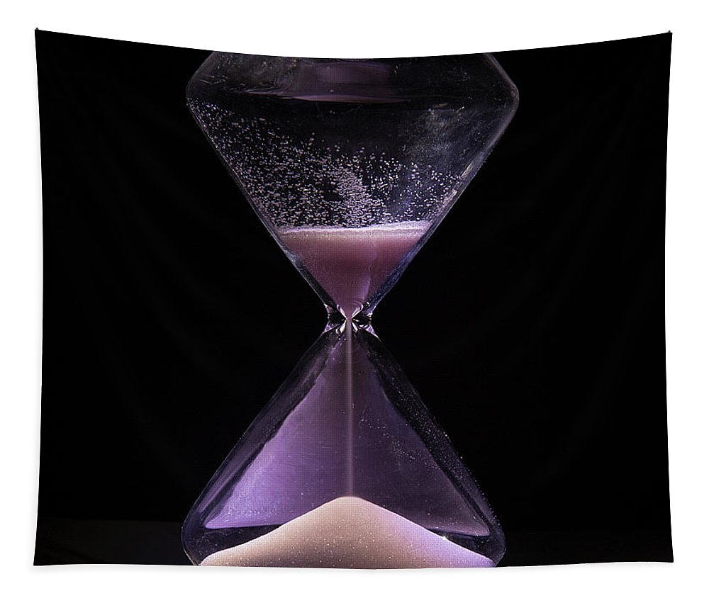 Hourglass Tapestry featuring the digital art Time Is Running Out by Elisabeth Lucas