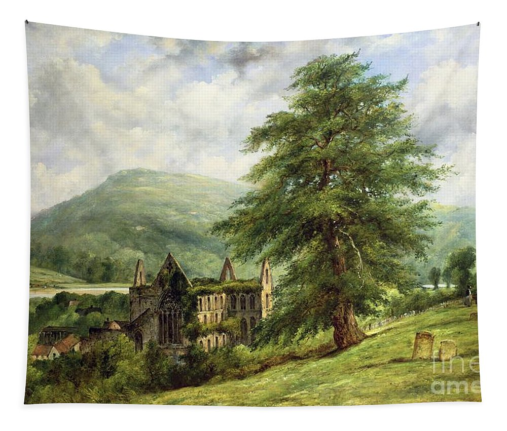 Tintern Tapestry featuring the painting Tintern Abbey by Frederick Waters Watts